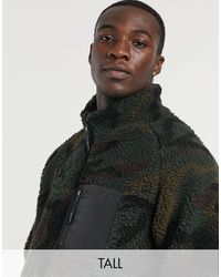Brave Soul Tall Camo Borg Zip Through Jacket With Mixed Panel - Green