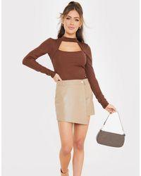 In The Style Falda pantalón color tostado efecto cuero de - Marrón