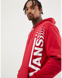 Vans - Pullover Hoodie With Large Logo In Red Vn0a3hwv14a1 - Lyst