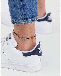 ASOS Anklet With Feather Charm - Black