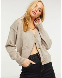 River Island Gold Hardware Cardigan - Natural