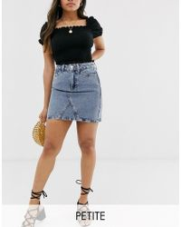 4f9d5d72f New Look Raw Hem Denim Mom Skirt in Black - Lyst