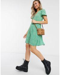 New Look Puff Sleeve Tea Dress - Green
