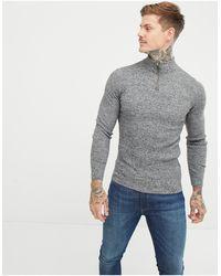 ASOS Muscle Fit Ribbed Half Zip Jumper - Grey