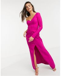 Forever Unique - Розовое Платье Макси С Одним Рукавом И Поясом -розовый - Lyst