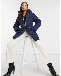 AX Paris Faux Fur Trim Parka - Blue