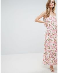 Oh My Love Cami Maxi Dress With Frill Detail - Multicolor