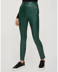 Miss Selfridge Legging imitation cuir - Vert