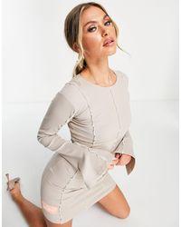 The Couture Club Vestido corto con costuras a la vista - Neutro