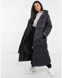 ASOS Tie Waist Longline Puffer Coat - Black