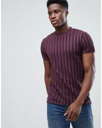 ASOS | T-shirt In Towelling Rib In Oxblood | Lyst