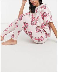 ASOS Lobster Print Tee & leggings Pyjama Set - Pink
