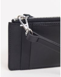 ASOS Leather Neck Wallet With Card Holder And Zip - Black