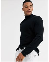 ASOS Long Sleeve Waffle Roll Neck - Black
