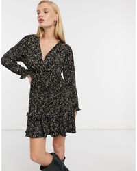 Mango Mini Floral Wrap Dress With Frill Detail - Black