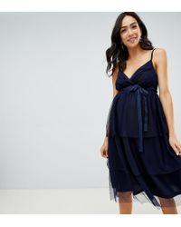 ASOS - Asos Design Maternity Tiered Tulle Midi Dress - Lyst
