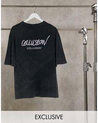 Collusion Camiseta extragrande con estampado del logo y diseño - Gris