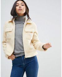 Barneys Originals Coat In Teddy Faux Fur