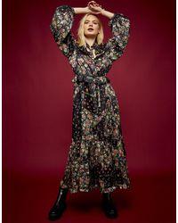 TOPSHOP Платье Миди С Разноцветным Принтом Пэчворк И Оборками Idol-многоцветный