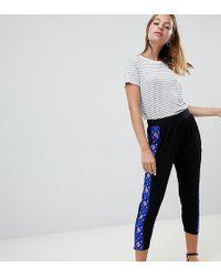 ASOS Asos Design Petite Tapered Peg Trousers With Aztec Print Side Stripe - Black