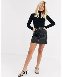 Lipsy Pu Zip Through Mini Skirt - Black
