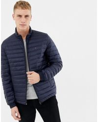 Tommy Hilfiger - Lightweight Down Packable Puffer Jacket Flag Logo In Navy - Lyst