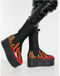 LAMODA Flame Print Chunky Boots - Black