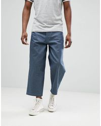 ASOS Wide Leg Cropped Jeans In Raw Gray