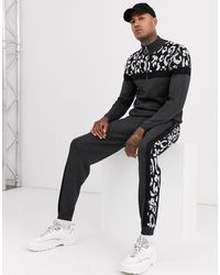 ASOS Knitted Co-ord Half Zip Sweater With Animal Blocking - Black