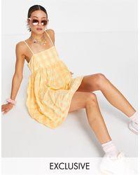 Collusion – Trapezförmiges Mini-Sommerkleid aus Seersucker - Mehrfarbig