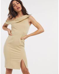 Closet Vestito longuette con spalle scoperte e spacco grigio talpa - Marrone