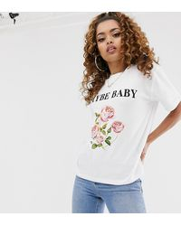 Missguided Maybe Baby Slogan T-shirt In White