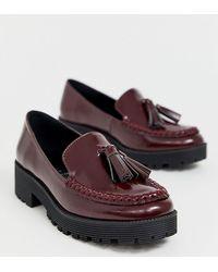 London Rebel - Loafers Met Brede Pasvorm En Kwastjes In Donkerrood - Lyst