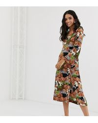 Monki Long Sleeve Midi Dress In Island Print - Brown