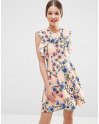 ASOS | Ruffle Neck Skater Dress In Pretty Floral Print | Lyst