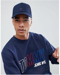 Tommy Hilfiger – Klassische, marineblaue Baseball-Kappe mit Flagge - Schwarz
