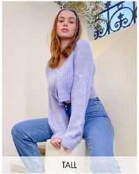 Missguided Cardigan With Balloon Sleeves - Purple