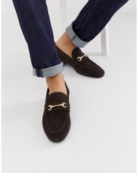 ASOS Loafers In Brown Suede With Gold Snaffle