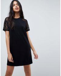 ASOS - Asos T-shirt Dress With Lace Raglan Sleeve - Lyst