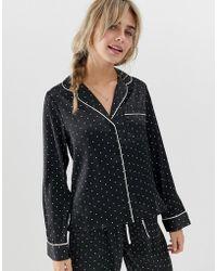 ASOS - Satin Spot Pyjama Shirt - Lyst