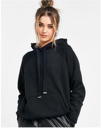 AllSaints Sudadera con capucha negra holgada - Negro