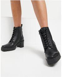 NA-KD Черные Ботинки На Шнуровке С Квадратным Носком -черный Цвет