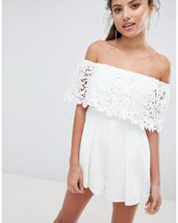 Love Triangle - Bardot Lace Playsuit - Lyst