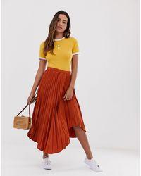 ASOS Wrap Pleated Midi Skirt - Multicolour