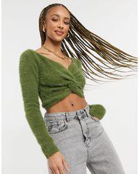 Threadbare Sasha - maglione corto soffice con incrocio sul davanti - Verde