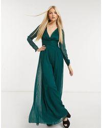 ASOS Платье Макси С Присборенной Талией И Длинными Рукавами - Зеленый