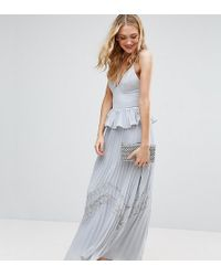 True Decadence - Cami Strap Maxi Dress With Pleated Skirt And Lace Insert - Lyst