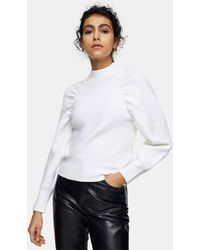 TOPSHOP Ruched Detail Sweat - White