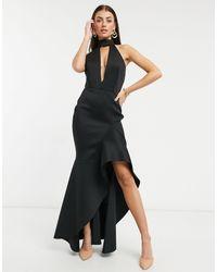 True Violet Vestido largo negro con detalle