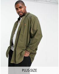 Polo Ralph Lauren Big & Tall - Camicia Oxford regular fit con colletto button-down tinta - Verde